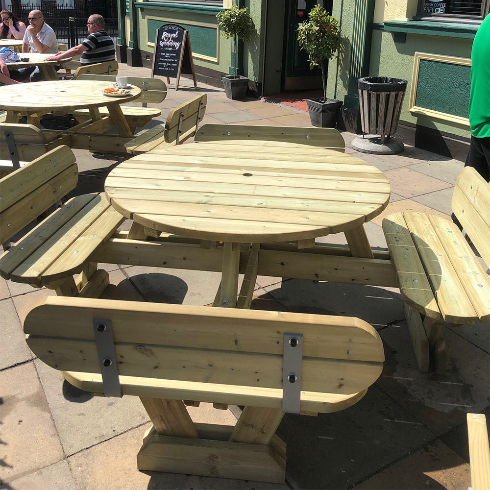 Oxford 8 Seat Round Picnic Table With Seat Backs Wooden Picnic Bench For Commercial Or Home Use Benchmark Picnic Tables